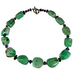 Polished Chrysoprase Nugget & Amethyst Necklace