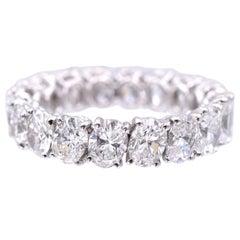 Nally 5.05 Carat Oval Shape Diamond Platinum Band Ring