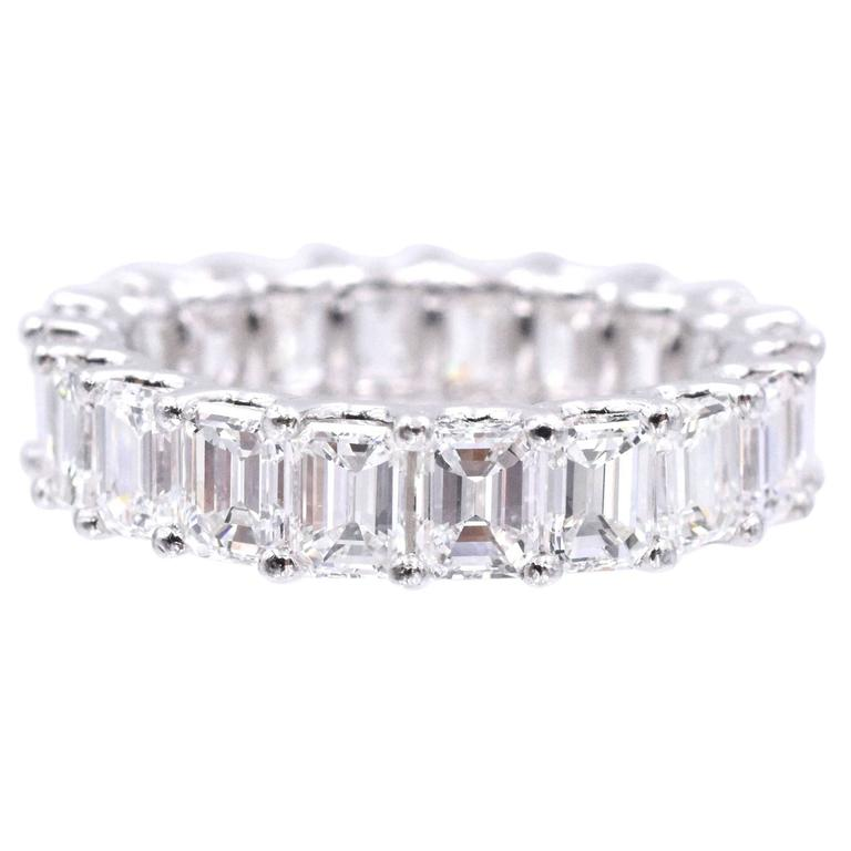 Nally 5.40 Carat Emerald Cut Diamonds Platinum Eternity Band Ring