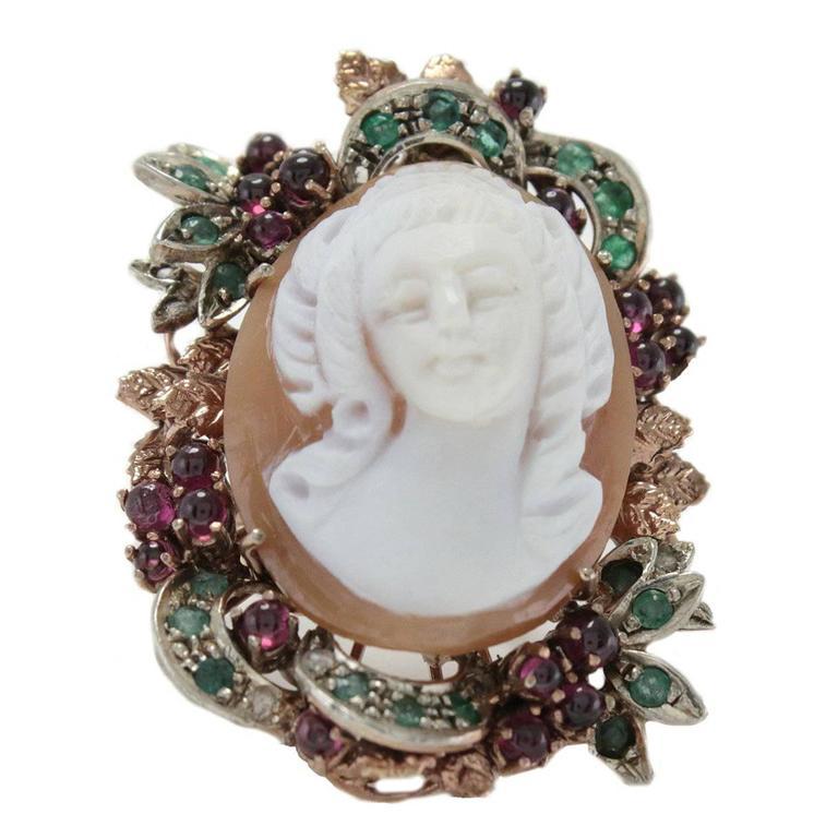 Cameo Garnet Emerald Diamond Silver Gold Cluster Ring