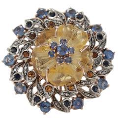 Sapphire Topaz Quartz Diamond Silver Gold Daisy Ring