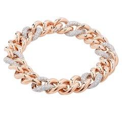Rina Limor 1.15 Carat Diamond Rose Gold Italian Curb Link Bracelet