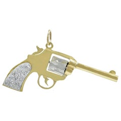 Large Diamond Gold Pistol Charm