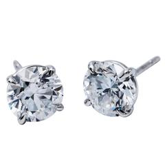 1.32 Carat Brilliant Diamond Studs Four Prong