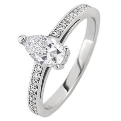 White Gold Pear White Diamond Pave Set Brilliant Band Engagement Ring