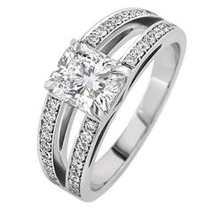 White Gold Radiant White Diamond Pave Set Brilliant Tapered Band Engagement Ring