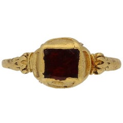 Medieval garnet ring, circa 14th century.