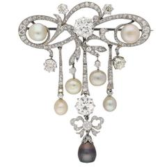 Belle Époque natural pearl  diamond pendant brooch