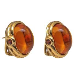 Palmeira Cabochon Citrine Topaz Gold Earrings