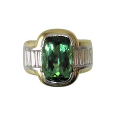Green Tourmaline  Diamond Ring by Susan Berman