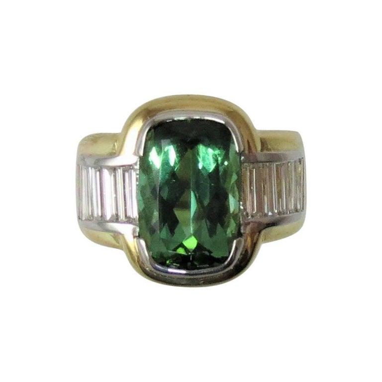Green Tourmaline  Diamond Ring by Susan Berman