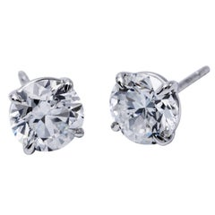Diamond Stud Earrings 1.25 Carats 14K White Gold