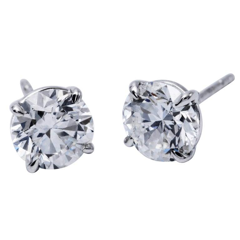 Diamond Stud Earrings 1.25 Carats 14K White Gold  For Sale