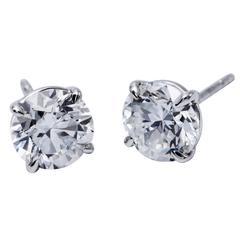 1.25 Carat Brilliant Diamond Stud Earrings