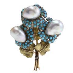 Buccellati Turquoise Pearls Brooch