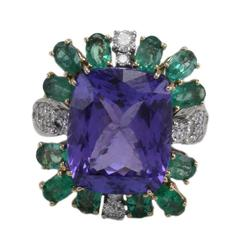 Luise Tanzanite Emerald Diamond Two Color Gold Ring