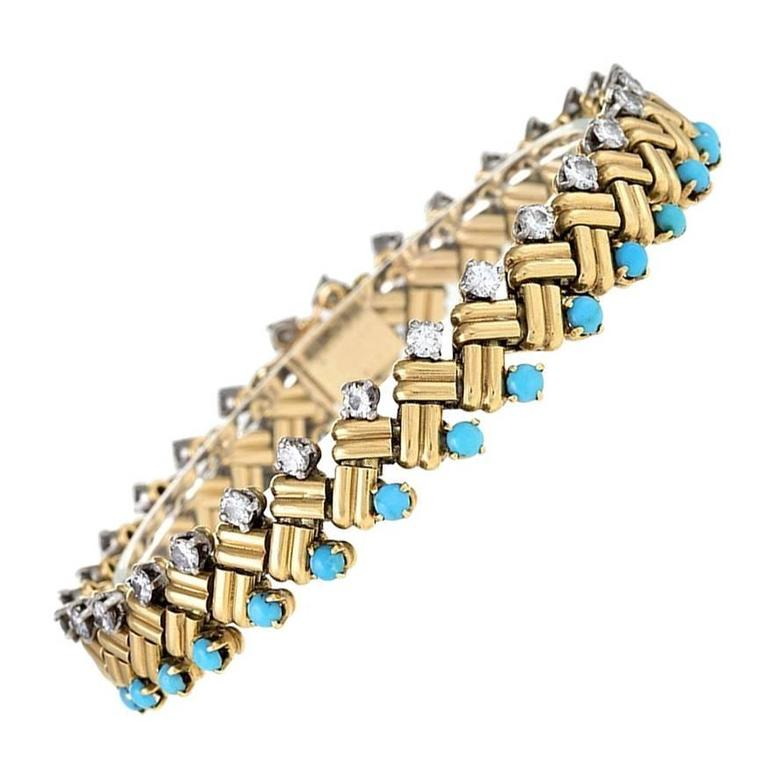 Van Cleef & Arpels 1950s Turquoise Diamond Gold Link Bracelet