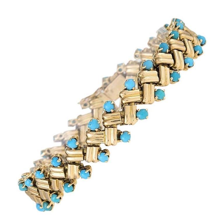 Van Cleef & Arpels 1950's Turquoise and Gold Link Bracelet