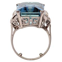 Art Deco 15.67 Carat CGL Certified Aquamarine Diamond Platinum Cluster Ring
