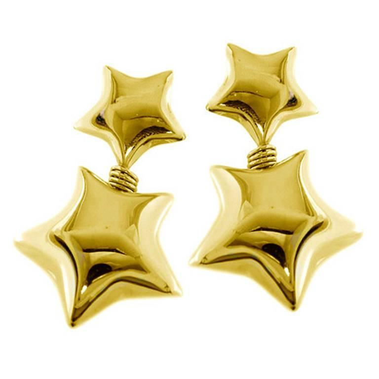 Gold Star Drop Earrings For Sale