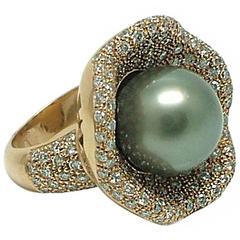 Tahitian Cultured Pearl Gold Water Lily Cocktail Ring