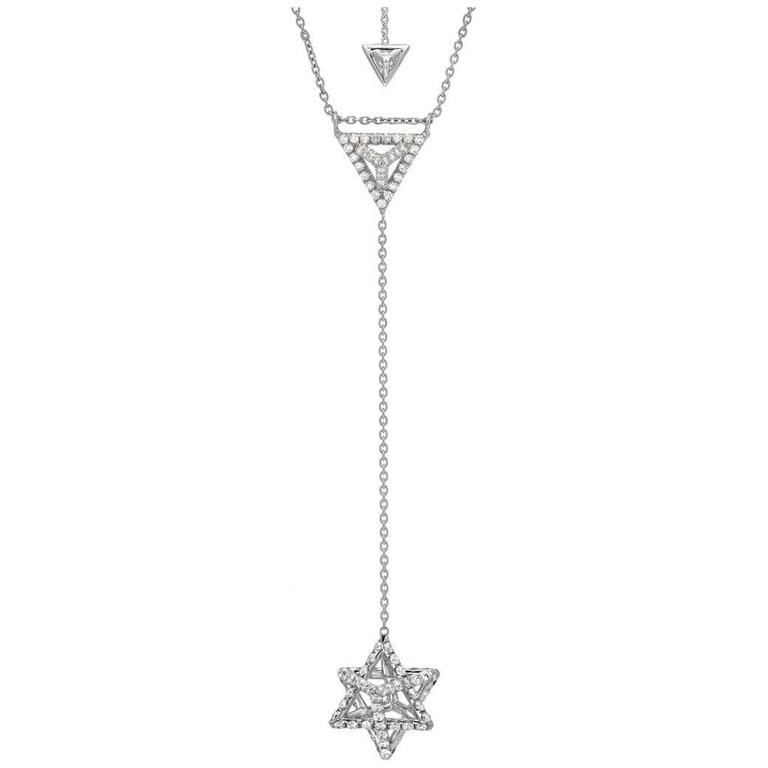 Merkaba Diamond Platinum Necklace Three Dimensional Star For Sale