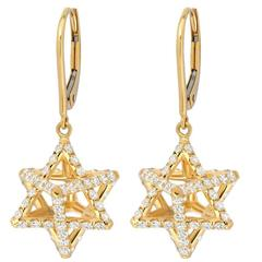 Merkaba Diamond Gold Lever Back Drop Earrings