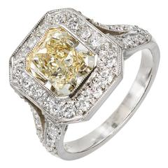 Peter Suchy 2.06 Carat Fancy Yellow Diamond Halo Platinum Engagement Ring
