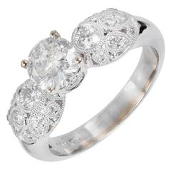 GIA Certified .81 Carat Diamond Pave Gold Engagement Ring