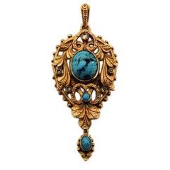 Art Nouveau Turquoise Diamond Gold Pendant