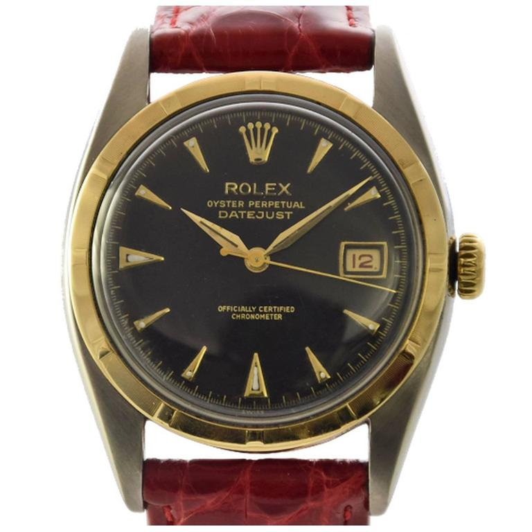 Rolex Yellow Gold Stainless Steel Datejust Big Bubbleback Wristwatch Ref 6075 1