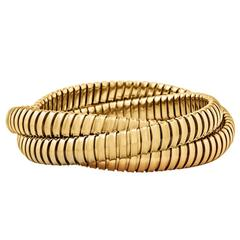 Steven Fox Handmade Gold Three Strand 9 MM Tubogas Rolling Bangle Bracelet