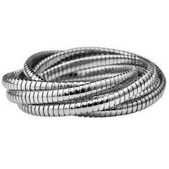 Handmade Sterling Silver Six Strand 6.5 MM Tubogas Rolling Bangle Bracelet