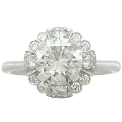 1950s 1.83 Carat Diamond and White Gold Cocktail Ring