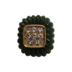 1980s Montreaux Nephrite Jade Diamond Gold Ring