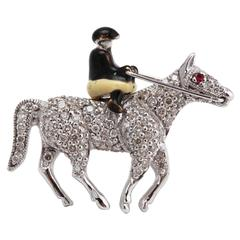Diamond 18 Carat White Gold Brooch in the Form of a Rider on Horseback