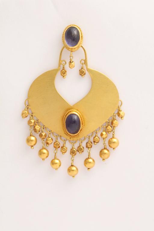 Rebecca Koven Iolite Gold Shield Earrings 3