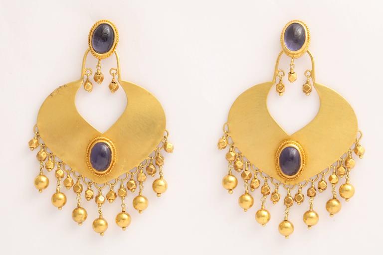 Rebecca Koven Iolite Gold Shield Earrings 2