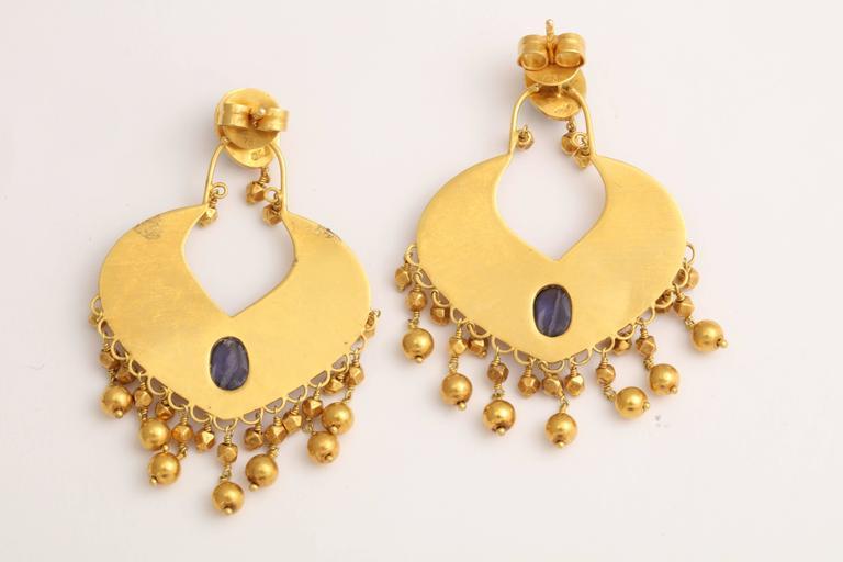 Rebecca Koven Iolite Gold Shield Earrings 4