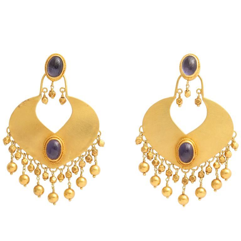 Rebecca Koven Iolite Gold Shield Earrings 1
