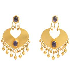Rebecca Koven Iolite Gold Shield Earrings