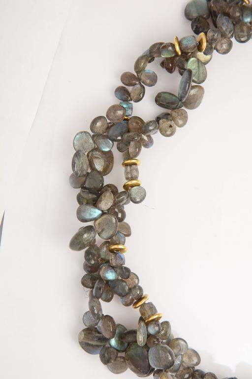 Labradorite Gold Chain Necklace In Excellent Condition For Sale In Fifth Avenue, NY