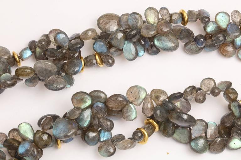 Women's Labradorite Gold Chain Necklace For Sale