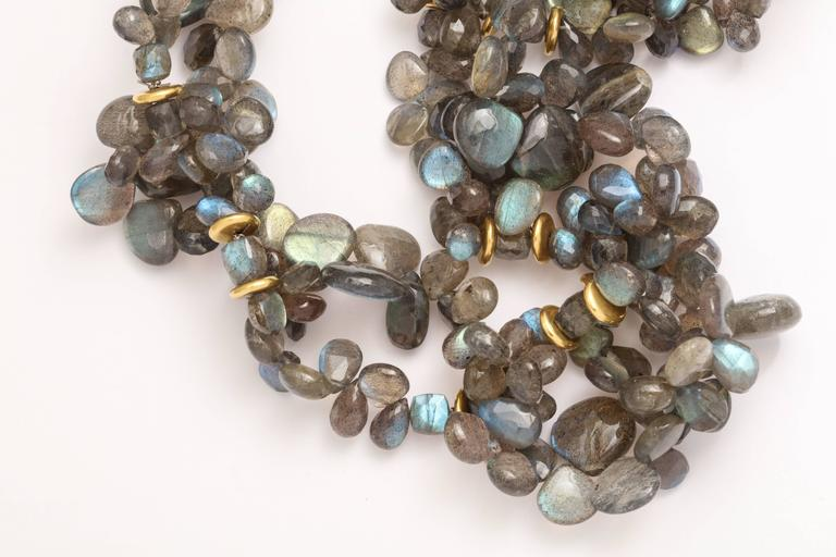 Labradorite Gold Chain Necklace For Sale 1