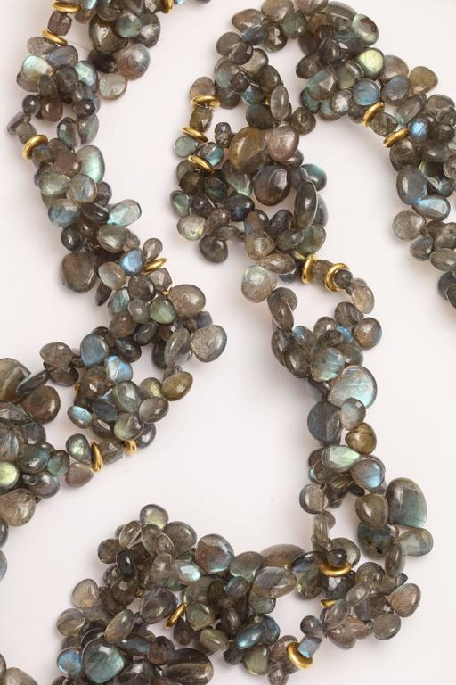 Contemporary Labradorite Gold Chain Necklace For Sale