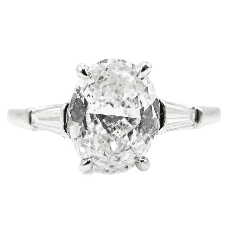 1.01 Carat Oval GIA Certified Diamond Platinum Engagement Ring