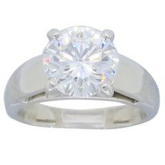 Platinum GIA Certified 2.28 Carat Diamond Solitaire Engagement Ring