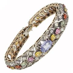 Multicolor Sapphires and  Diamond Rose Gold and Silver Bracelet