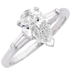 1.04 Carat Pear Shape GIA Graded G/VS1 Diamond Platinum Engagement Ring