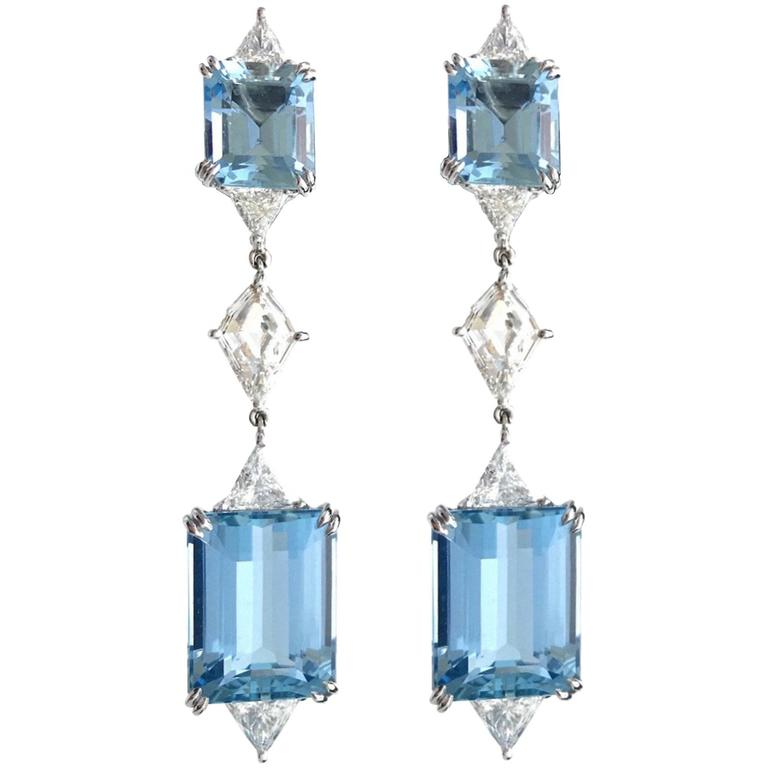 Harry Winston Aquamarine Diamond Platinum Ear Pendants
